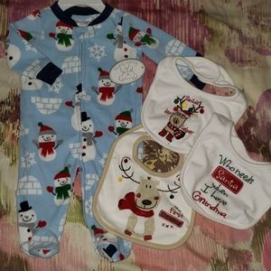 3M baby boy fleece footed pajamaChristmas snowman